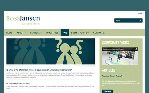 Screenshot of FAQ Page bossjansen.com - FAQ - BossJansen Executive Search - captured Oct. 5, 2014