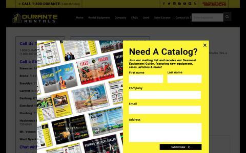 Screenshot of Contact Page duranterentals.com - Contact Durante Rentals | Call 1-800-DURANTE | Email, Live Chat, Fax - captured Feb. 7, 2019