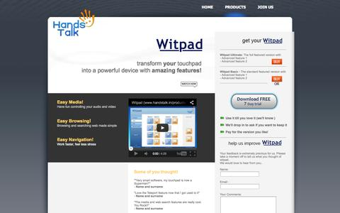 Screenshot of Products Page handstalk.in - HandsTalk Solutions - captured Oct. 1, 2014