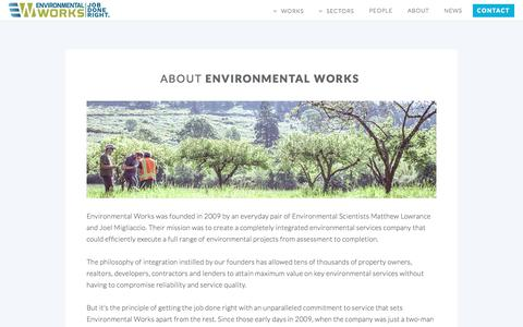 Screenshot of About Page eworksnw.com - About Environmental Works - Portland, OR - captured Nov. 9, 2016