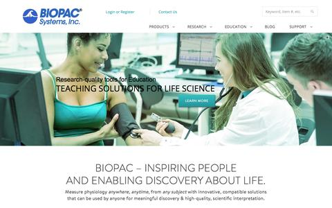 Screenshot of Home Page biopac.com - Data Acquisition Systems | Data Loggers, Amplifiers, Transducers, Electrodes for Life Science Research and Education | BIOPAC - captured Nov. 13, 2015