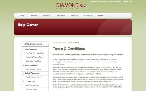 Screenshot of Terms Page diamondqualityprinting.com - Diamond Quality Printing & Direct Mail: Help Center - captured Feb. 9, 2016