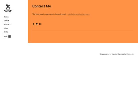 Screenshot of Contact Page elementalpottery.com - Contact - Elemental Pottery - captured July 17, 2018