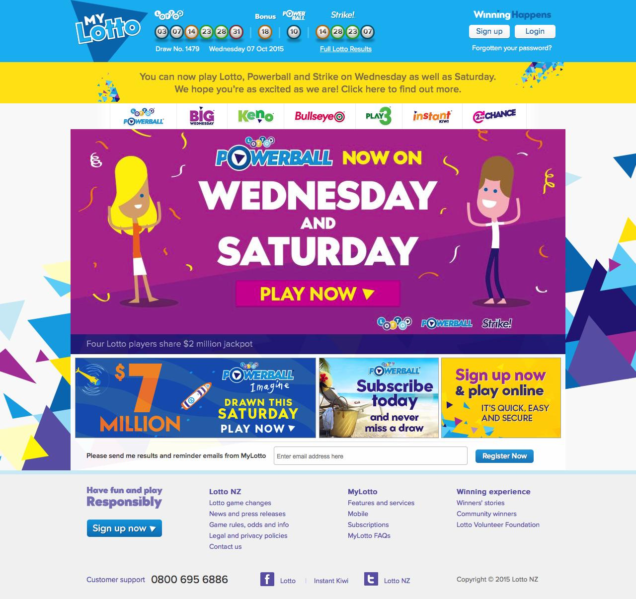 Web Design Example | A page on mylotto co nz | Crayon