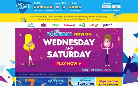 Screenshot of Home Page Login Page mylotto.co.nz - Official Lotto, Bullseye, Keno & Play 3 Results & Tickets | Lotto NZ » MyLotto - captured Oct. 7, 2015