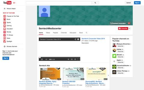 Screenshot of YouTube Page youtube.com - SemtechMediacenter  - YouTube - captured Oct. 24, 2014