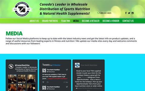 Screenshot of Press Page truenorthnutrition.com - Media | True North Nutrition - captured Dec. 20, 2016