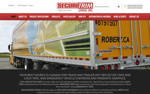 Screenshot of Home Page securitrim.ca - Home page - captured Feb. 13, 2016