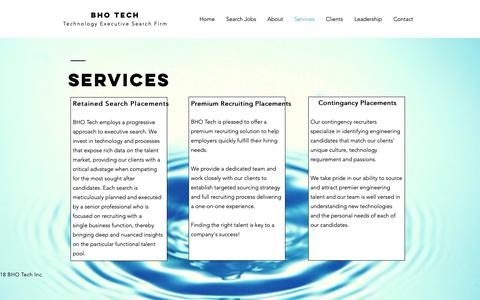 Screenshot of Services Page bhotech.com - bhotech | Services - captured Nov. 6, 2018