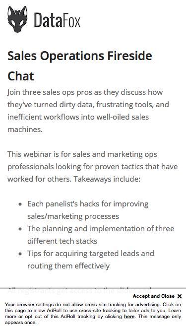 Sales Operations Fireside Chat webinar