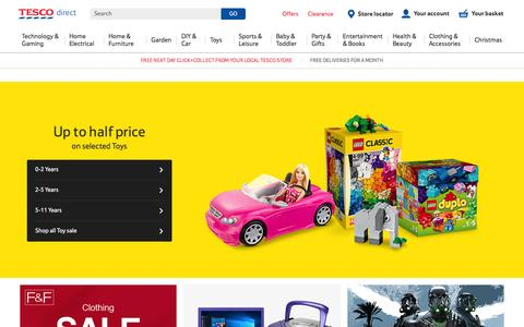 Screenshot of tesco.com - Tesco direct: Shop for technology, toys and household items - Tesco - captured Oct. 9, 2016