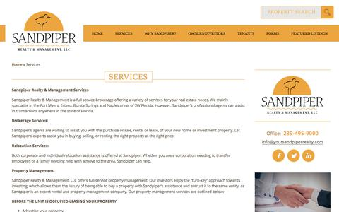 Screenshot of Services Page yoursandpiperrealty.com - Sandpiper Realty & Management Services | Estero Real Estate | Naples Property ManagementSandpiper Realty and Management, LLC - captured Oct. 4, 2017