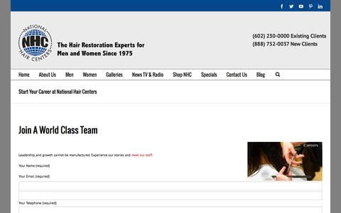 Screenshot of Jobs Page nationalhair.com - Start Your Career at National Hair Centers - captured Oct. 9, 2014