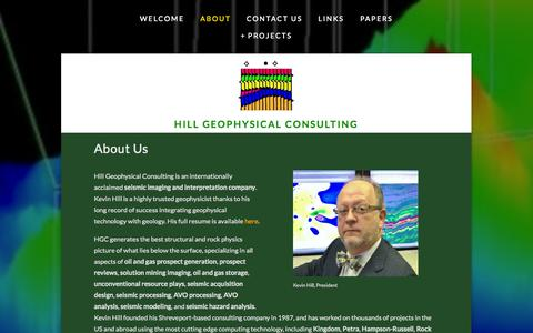 Screenshot of About Page hillgeo.com - About — Hill Geophysical Consulting - captured Oct. 2, 2014