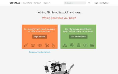 Screenshot of Signup Page gigsalad.com - Join GigSalad - captured Aug. 25, 2016
