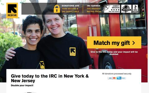 Screenshot of Landing Page rescue.org - Give today to the IRC in New York & New Jersey | International Rescue Committee - captured Dec. 31, 2016
