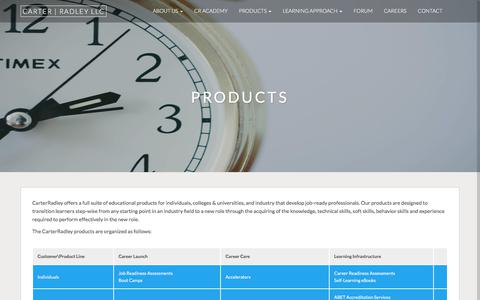 Screenshot of Products Page carterradley.com - Products - captured July 16, 2018