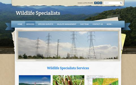 Screenshot of Services Page wildlife-specialists.com - services - Wildlife Specialists - captured June 13, 2017