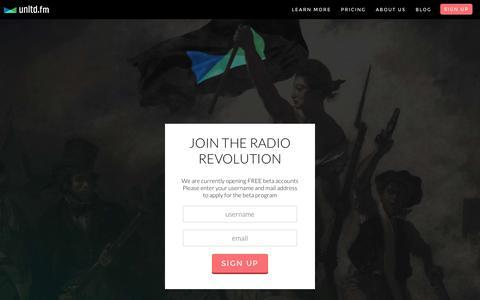 Screenshot of Signup Page unltd.fm - unltd.fm - Live internet radio broadcasting for DJs. - captured Nov. 4, 2014
