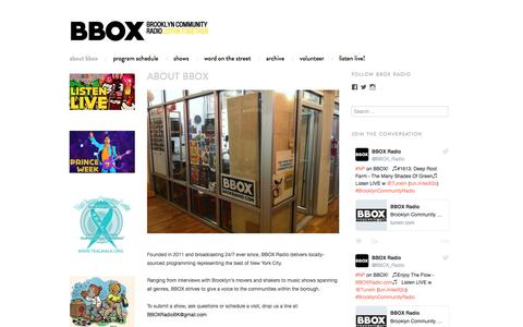 Screenshot of About Page wordpress.com - About BBOX | BBOX Radio: Brooklyn Community Radio - captured July 27, 2016