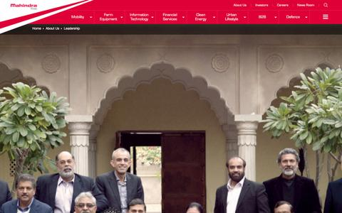 Screenshot of Team Page mahindra.com - Our Leadership at Mahindra Rise - captured Jan. 21, 2016