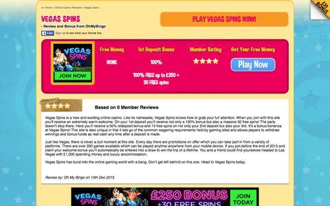 Screenshot of ohmybingo.com - Vegas Spins - 30 Free Spins + £250 Bonus - captured March 19, 2016