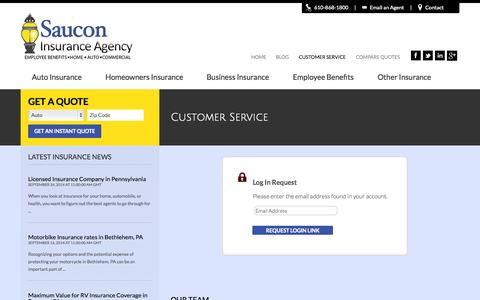 Screenshot of Support Page sauconinsurance.com - Customer Service | Saucon Insurance Agency - captured Oct. 4, 2014