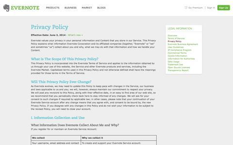 Screenshot of Privacy Page evernote.com - Privacy Policy | Evernote - captured Sept. 16, 2014