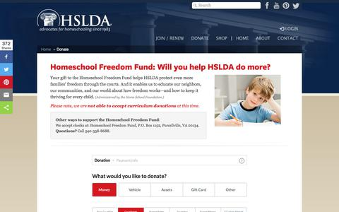 Screenshot of Support Page hslda.org - Donate to HSLDA | Homeschool Freedom Fund - captured Feb. 2, 2018