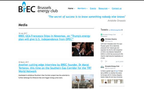 Screenshot of Press Page brusselsenergyclub.org - Media - Resources - - captured Aug. 4, 2018
