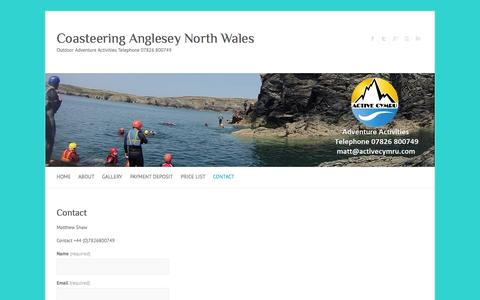 Screenshot of Contact Page coasteering.biz - Contact | Coasteering Anglesey North Wales - captured Sept. 30, 2014