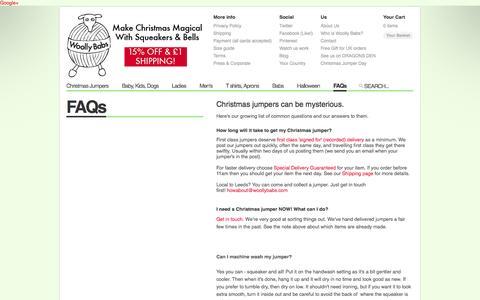 Screenshot of FAQ Page woollybabs.com - Christmas Jumpers by Woolly Babs — Christmas Jumper FAQs - captured Oct. 26, 2014