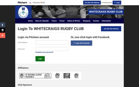 Screenshot of Login Page pitchero.com - WHITECRAIGS RUGBY CLUB - captured June 13, 2016