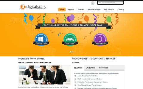 Screenshot of Home Page digitalsofts.com - DIGITALSOFTS (PRIVATE LIMITED) | LEADING IT COMPANY IN FAISALABAD, PAKISTAN. - captured Oct. 5, 2014