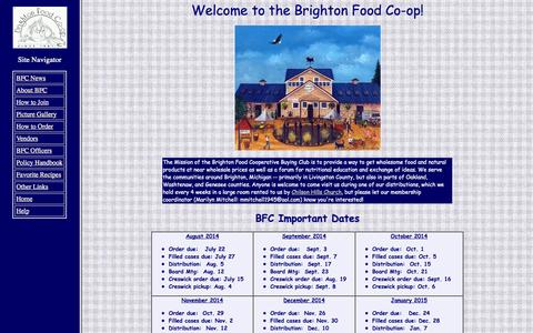 Screenshot of Home Page brightonfoodcoop.com - Brighton Food Coop - captured Sept. 30, 2014