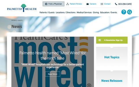 Screenshot of Press Page palmettohealth.org - News - Palmetto Health - captured July 10, 2016