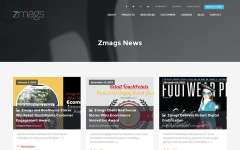 Screenshot of Press Page zmags.com - Zmags News - captured Jan. 13, 2016