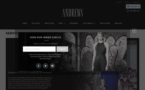 Screenshot of Services Page andrewsco.com - Services   Andrews Co. Women's Fashion Destination   Style, Quality, Value and Selection - captured Nov. 20, 2016