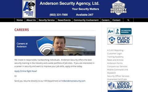 Screenshot of Jobs Page andersonsecurity.com - Careers at Anderson - captured Feb. 6, 2016