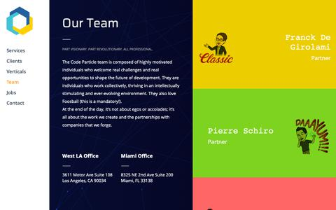 Screenshot of Team Page codeparticle.com - Our Team | Code Particle - captured Sept. 28, 2018