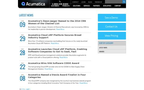 Screenshot of Press Page acumatica.com - News - captured July 20, 2014
