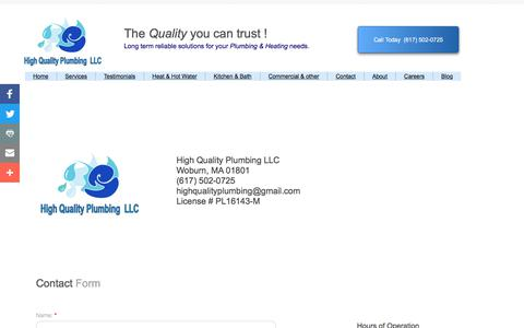 Screenshot of Privacy Page Contact Page highqualityplumber.com - High Quality Plumbing Llc in Woburn, Ma : Contact - captured Aug. 9, 2017