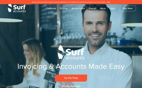 Screenshot of Home Page surfaccounts.com - Accounting Software Online | Surf Accounts - captured Sept. 21, 2018