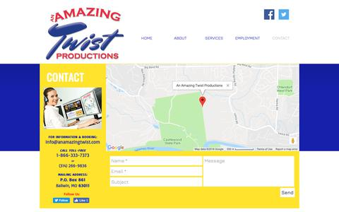 Screenshot of Contact Page anamazingtwist.com - Contact us at An Amazing Twist Prouctions - captured Oct. 3, 2018