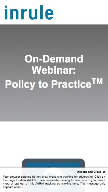 On-Demand Webinar - Policy to Practice