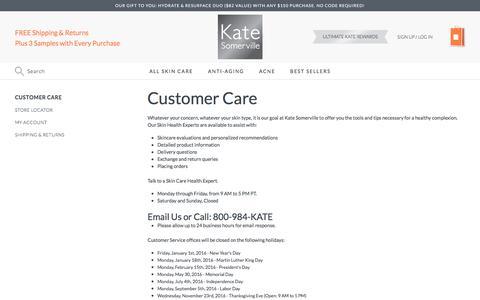 Screenshot of Support Page katesomerville.com - Customer Care - captured Jan. 12, 2017