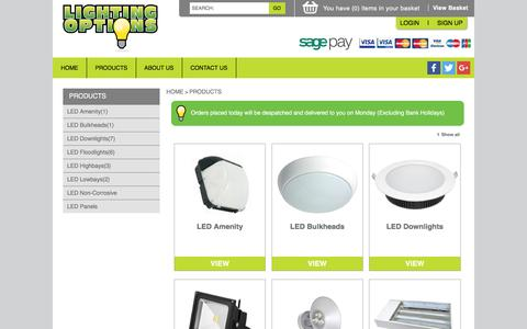 Screenshot of Products Page lighting-options.co.uk - Product Range      Welcome to Lighting Options - captured Jan. 29, 2016