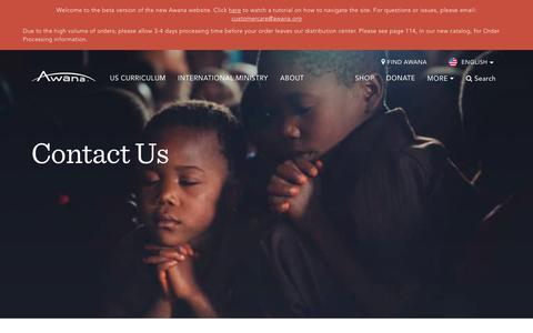 Screenshot of Contact Page awana.org - Contact - Awana - captured July 31, 2018