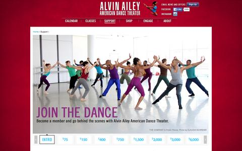 Screenshot of Support Page alvinailey.org - Support | Alvin Ailey American Dance Theater - captured Jan. 18, 2016