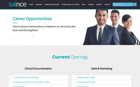 Screenshot of Jobs Page saince.com - Careers - Apply For Medical Transcription & IT Jobs. | - captured June 20, 2018